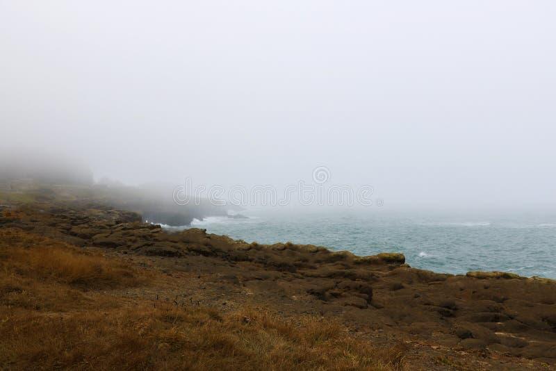 Schöne Pazifikküste an einem nebeligen Morgen, Kalifornien USA lizenzfreies stockfoto