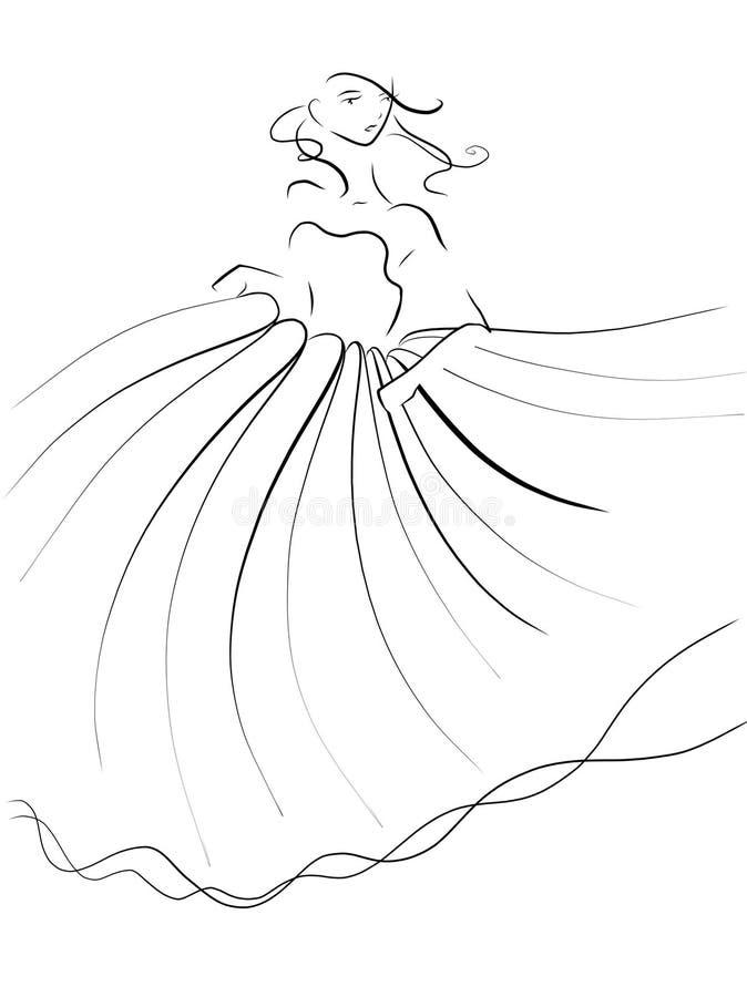 Schöne Prinzessin Dashing vom Ball lizenzfreie abbildung