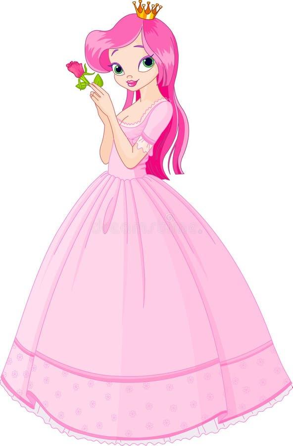 Schöne Prinzessin mit stieg vektor abbildung