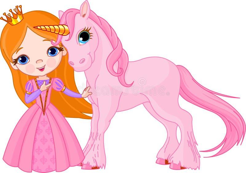 Schöne Prinzessin und Einhorn lizenzfreie abbildung