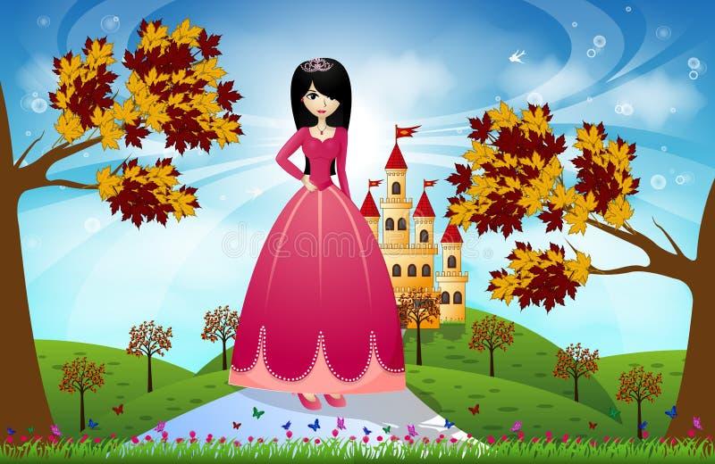 Schöne Prinzessin und Schloss vektor abbildung