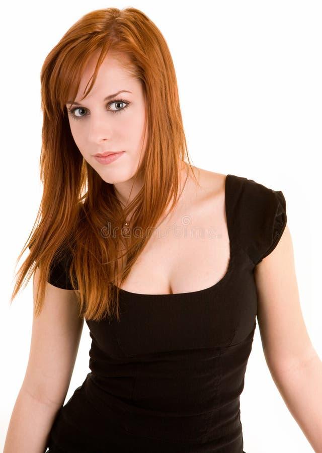 Schöne Redhead-Dame Isolated auf Weiß lizenzfreie stockfotografie