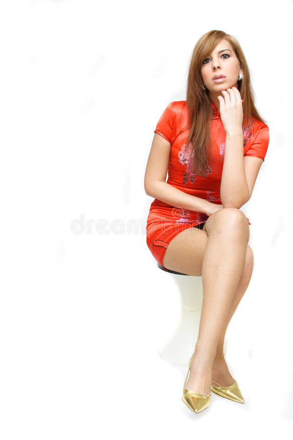 Schöne Redheadfrau stockfotos