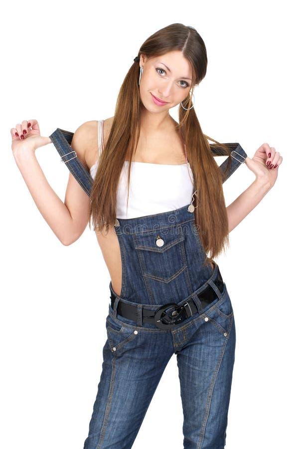 Schöne reizvolle Frau in den Jeans stockbild