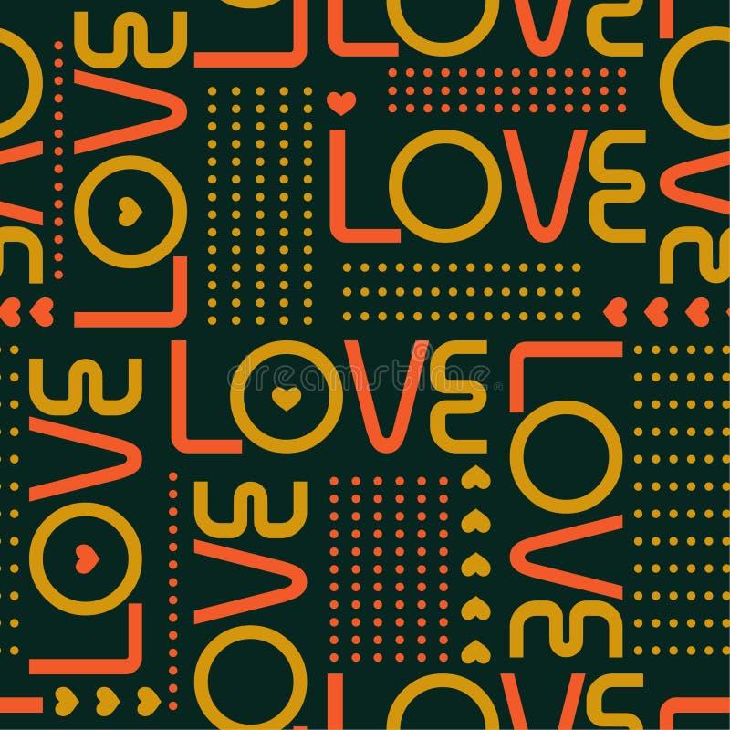 Schöne Retro- Liebeswörter und Miniherzen mit Linie von Kreistupfen modren herein nahtlosen Musterentwurf der Artvalentinsgrußsti vektor abbildung