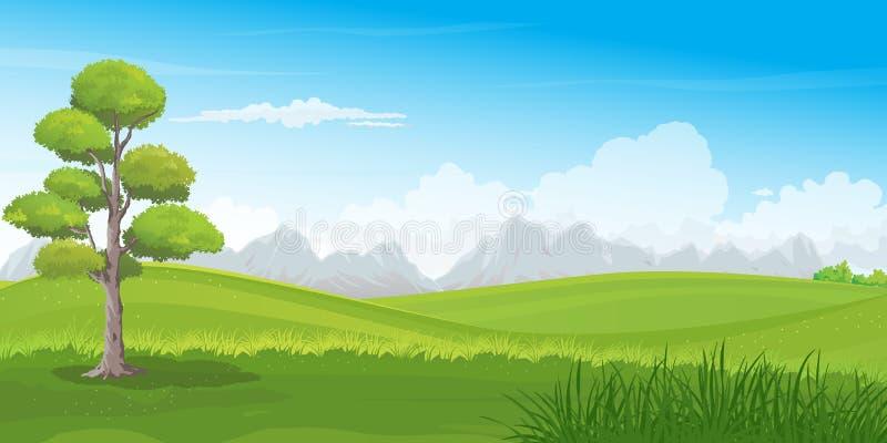 Schöne Rolling Hills Landschaft mit Reihe von Bergen auf Horizont lizenzfreie abbildung