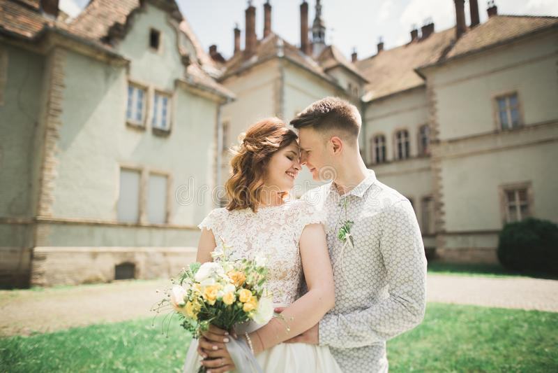 Schöne romantische Hochzeitspaare von den Jungvermählten, die nahe altem Schloss umarmen lizenzfreie stockfotos
