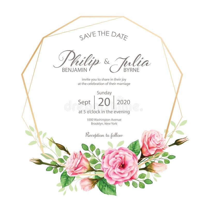 Schöne rosa Blumenhochzeitseinladungskarte auf weißem BG lizenzfreie abbildung