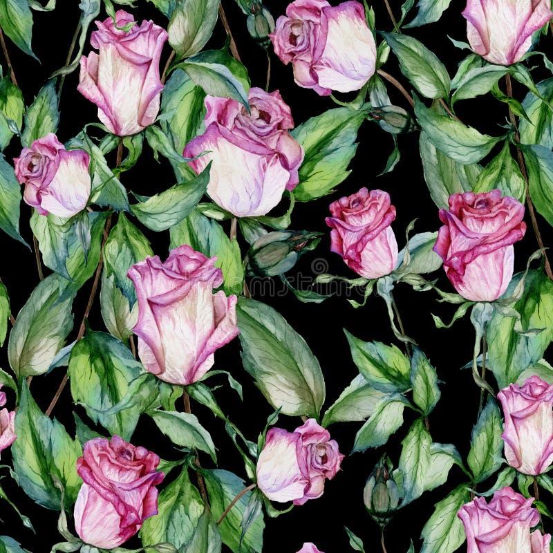 Schöne rosa Rosen und grüne Blätter auf schwarzem Hintergrund Nahtloses Blumenmuster Adobe Photoshop für Korrekturen Hand gezeich stock abbildung