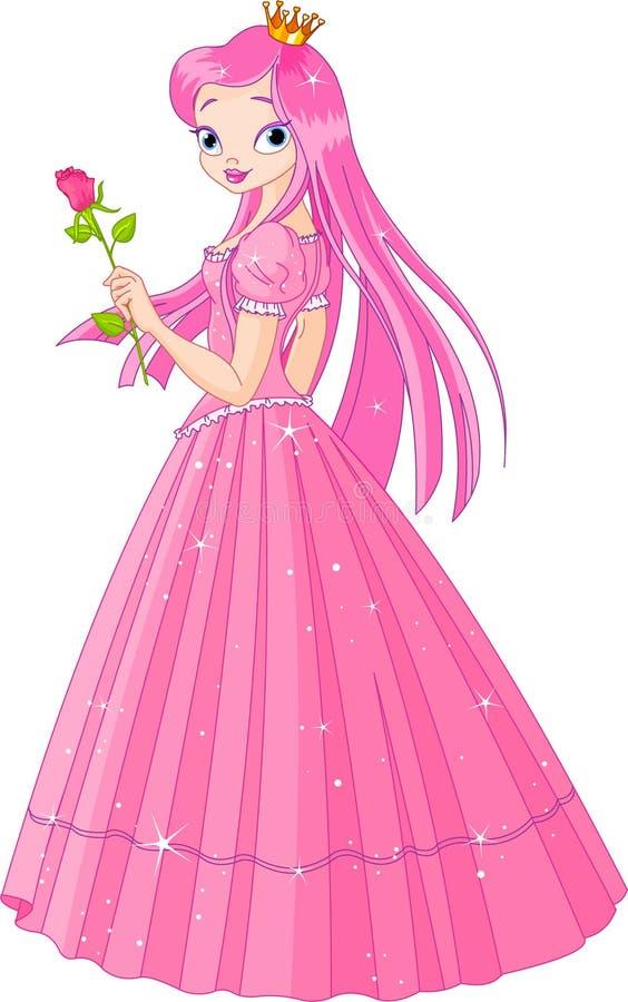 Schöne rosafarbene Prinzessin mit stieg vektor abbildung