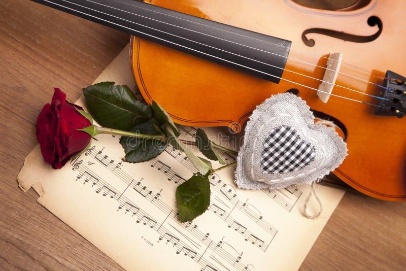 Download Schöne Rosen und Violine! stockbild. Bild von weiß, anmerkungen - 27731187