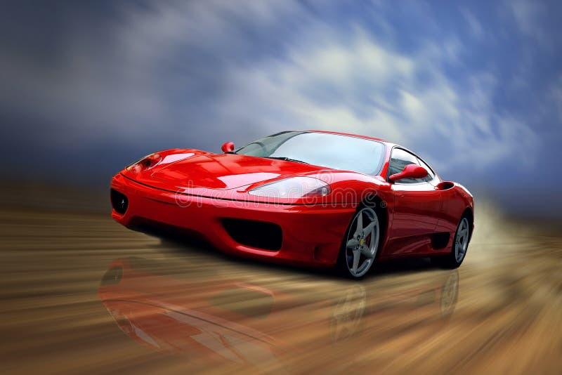 Schöne rote Drehzahl sportcar auf der Straße lizenzfreies stockbild