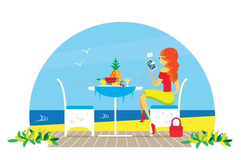 Schöne rote Haarfrau Stühle und Tabelle auf dem Terrassenbalkon Restaurant-Ansicht über das Meer Wässern Sie Landscape abendessen stock abbildung