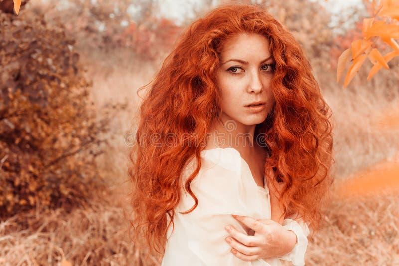 Schöne rothaarige junge Frau im Herbstwald stockfoto