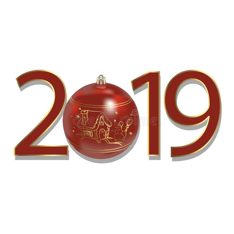 Schöne Schablone des neuen Jahres 2019 Traditionelle Winterurlaube entwerfen für Saisongrußkarte, Kalender, Plakat, Fahne, brochu vektor abbildung