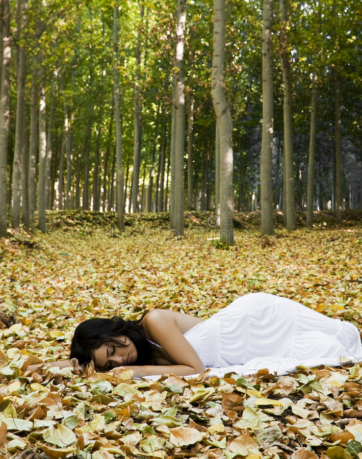 Schöne schlafende Frau stockbild