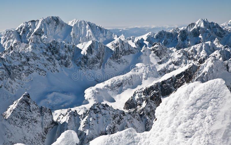 Schöne schneebedeckte Hügel in hohen Tatras-Bergen, Slowakei stockbild