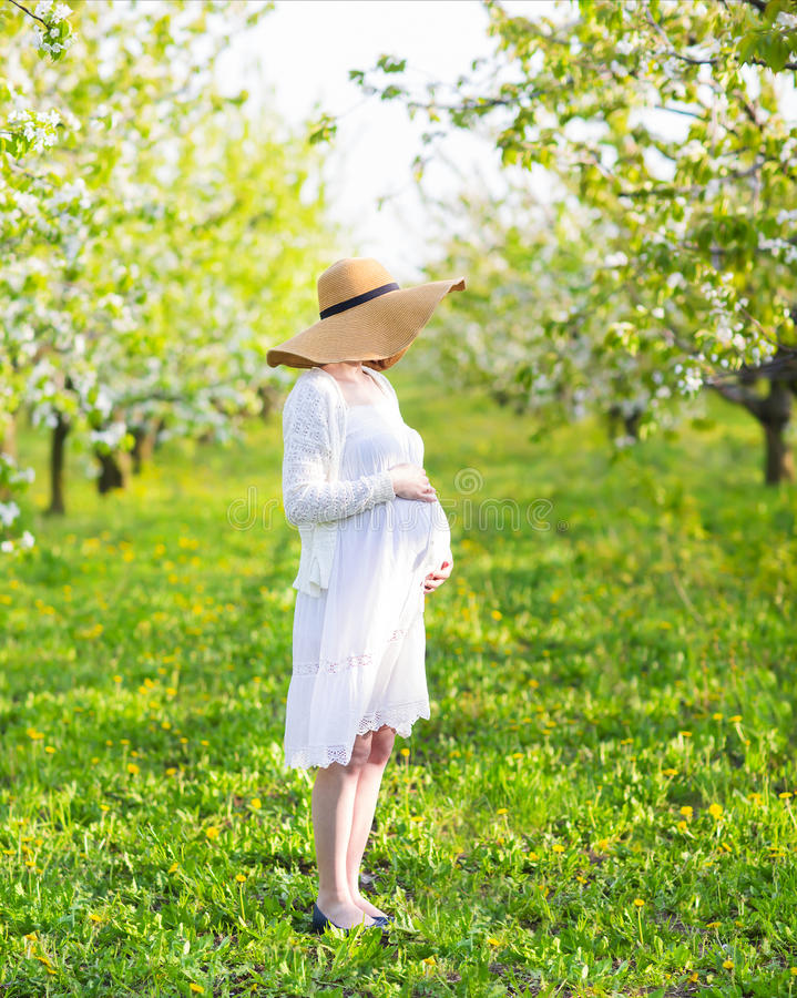 Schöne schwangere Frau in blühendem Garten stockbilder