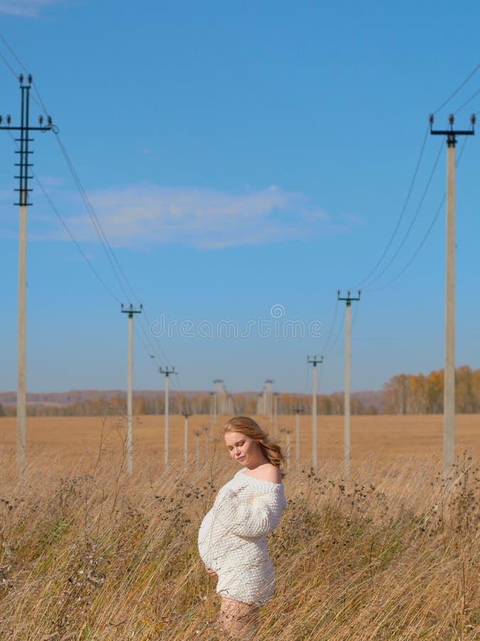 Schöne schwangere Frau in einer weißen woolen Strickjacke zwischen symmetrisch vereinbarten Stromleitungen lizenzfreie stockfotografie