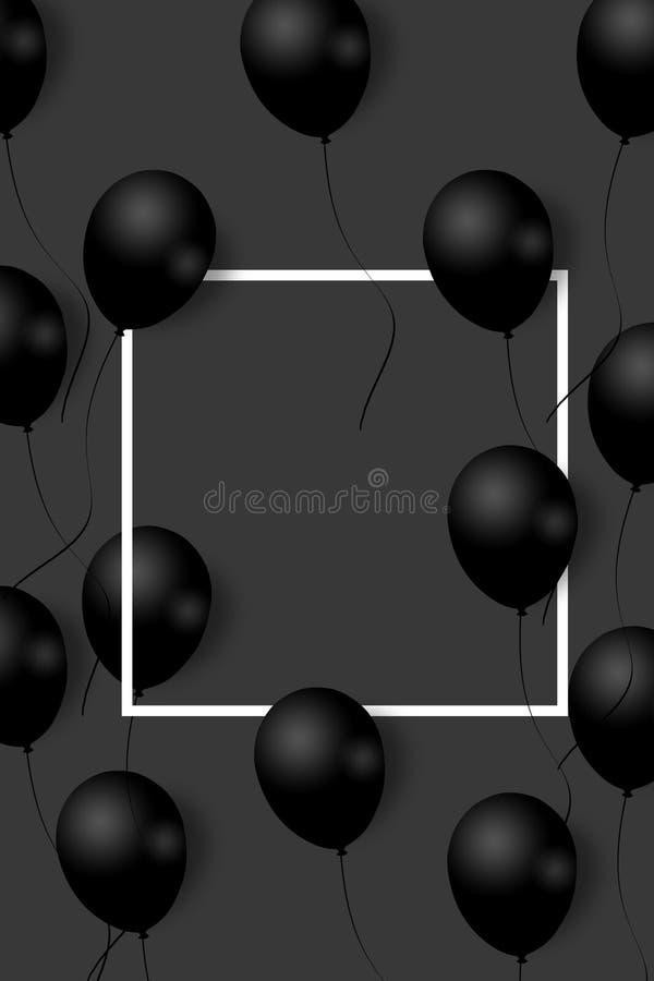 Schöne schwarze Ballone, die nach dem Zufall über weißen Rahmen fliegen Eleganter Hintergrund der Partei mit Raum für Text weißer stock abbildung