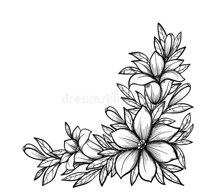 Schöne Schwarzweiss-Niederlassung Mit Blumen Stock Abbildung ...