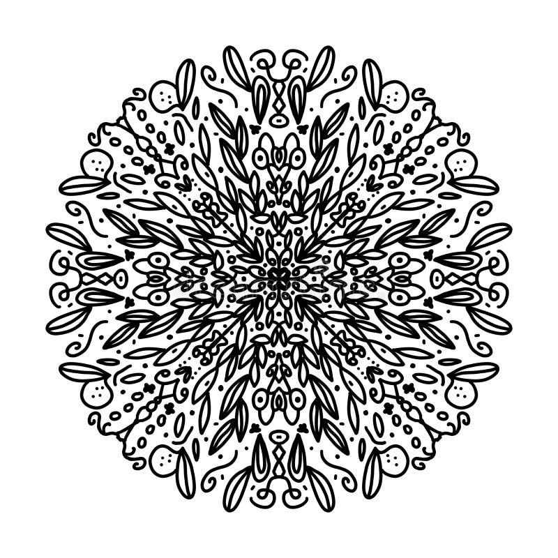 Schöne schwierige zu färben Mandala, von Natur aus angespornt, mit den Blättern, schwarz im weißen Hintergrund vektor abbildung