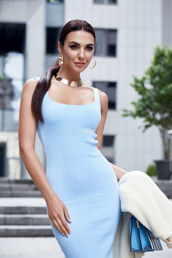 Schöne sexy Frau lange Brunette-Haargeschäftsfrau stockfoto