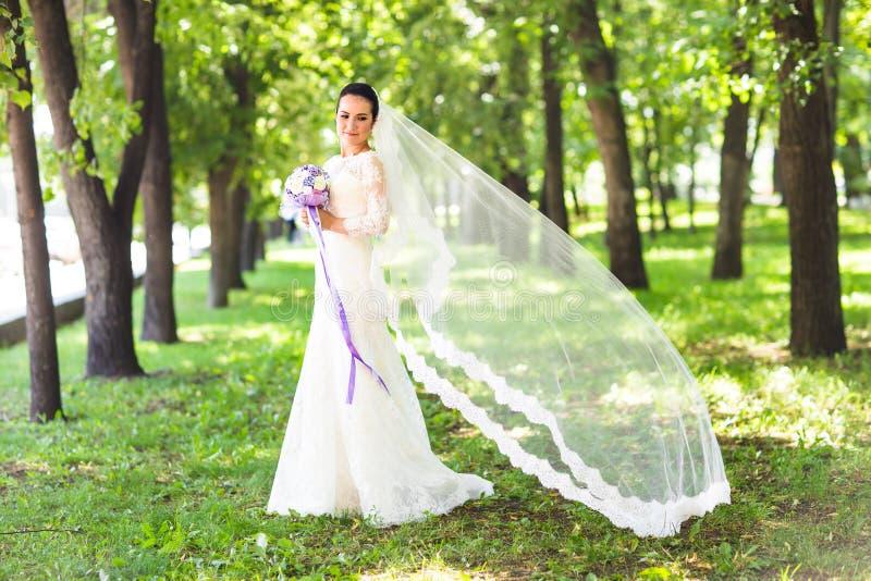 schöne sinnliche junge Brunettebraut im langem weißem Hochzeitskleid und -schleier draußen lizenzfreies stockbild