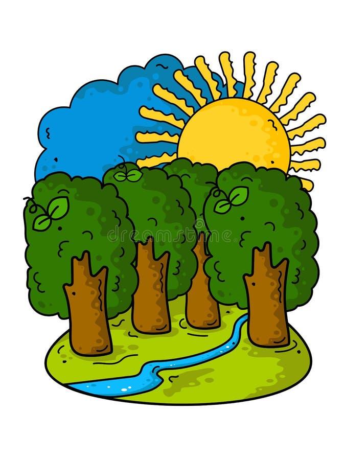 Schöne Sommerkarikaturlandschaft Bäume, Sonne, Himmel, blauer Fluss und grünes Gras stock abbildung