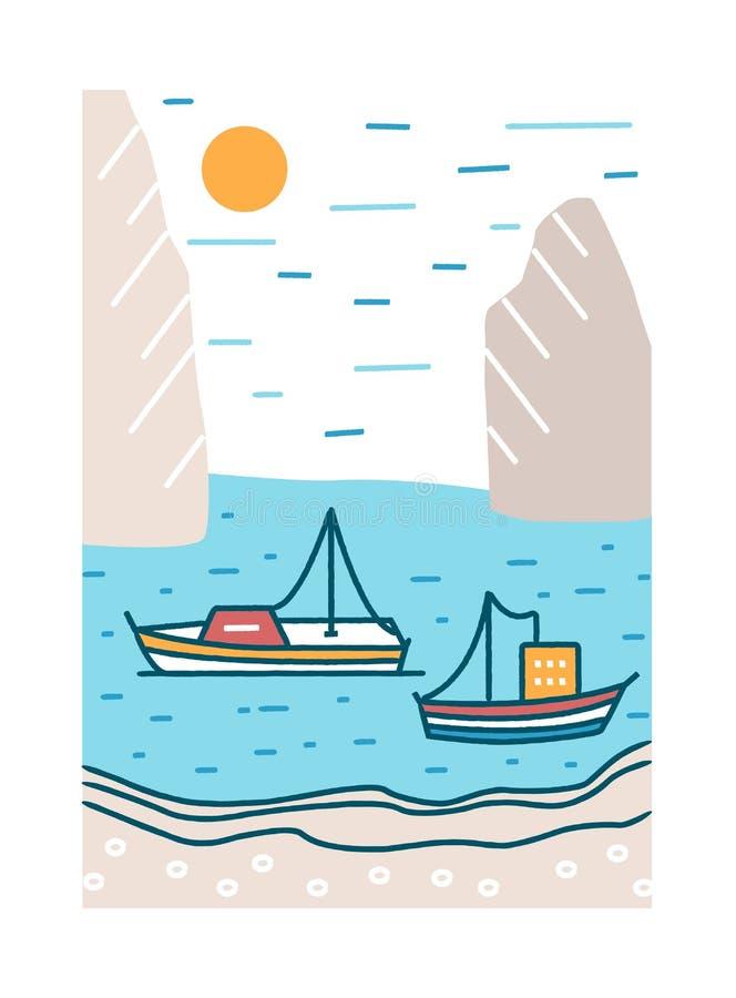 Schöne Sommerlandschaft mit den Booten oder Yachten, die in See- oder Ozeanbucht gegen felsige Klippen und Sonne auf Hintergrund  vektor abbildung