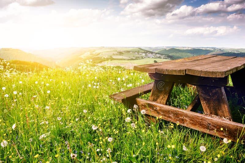 Schöne Sommerlandschaft mit hölzernem Picknickplatz stockbild