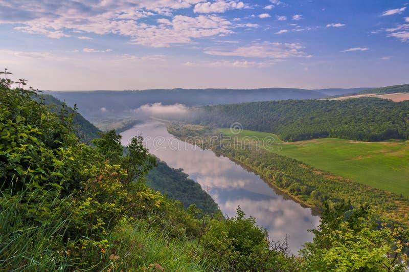 Schöne Sommerlandschaft mit Morgennebel über dem Fluss Dnie stockfoto