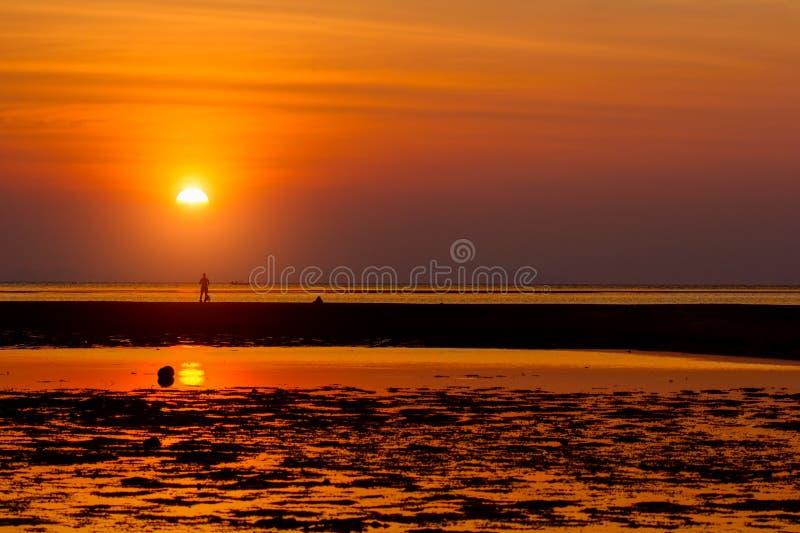Schöne Sommersonnenuntergangzusammensetzung auf dem Strand lizenzfreie stockbilder