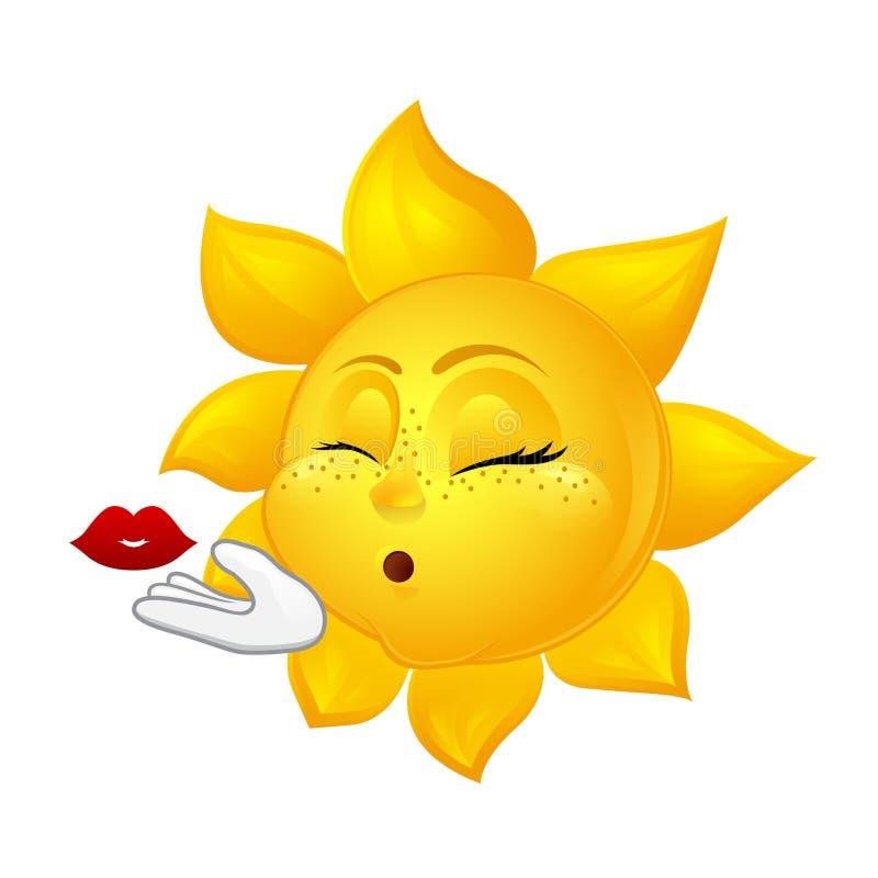 Schöne Sonne, die Luftkuß macht lizenzfreie abbildung