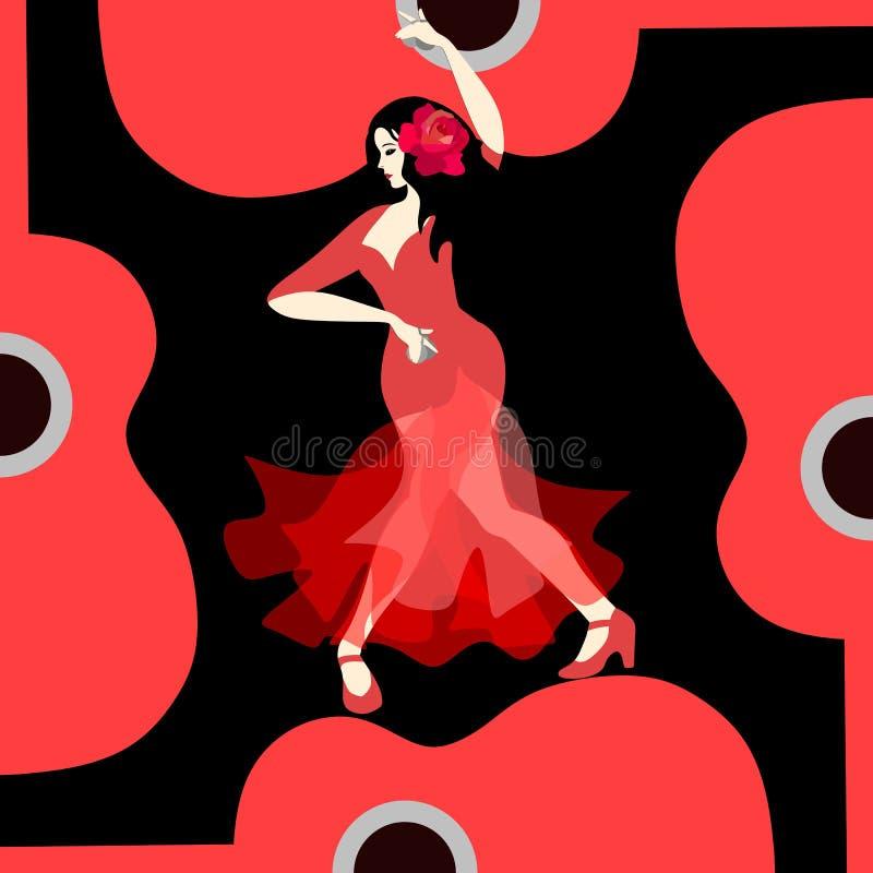 Schöne Spanierin gekleidet im langen roten Kleid, mit rosafarbener Blume in ihrem Haar und mit Kastagnetten in ihren Händen, tanz vektor abbildung