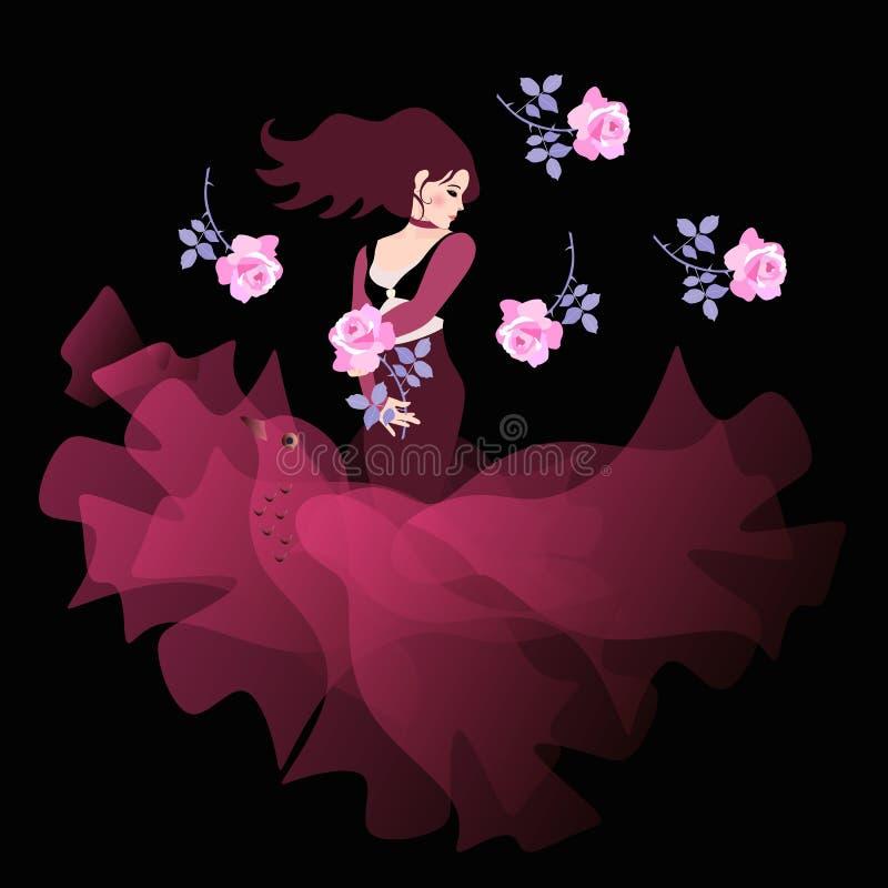 Schöne Spanierin im Kirschfarbkleid mit Rand, wie einem fliegenden Vogel, steht mit einer Blume in seiner Hand auf einem schwarze lizenzfreie abbildung