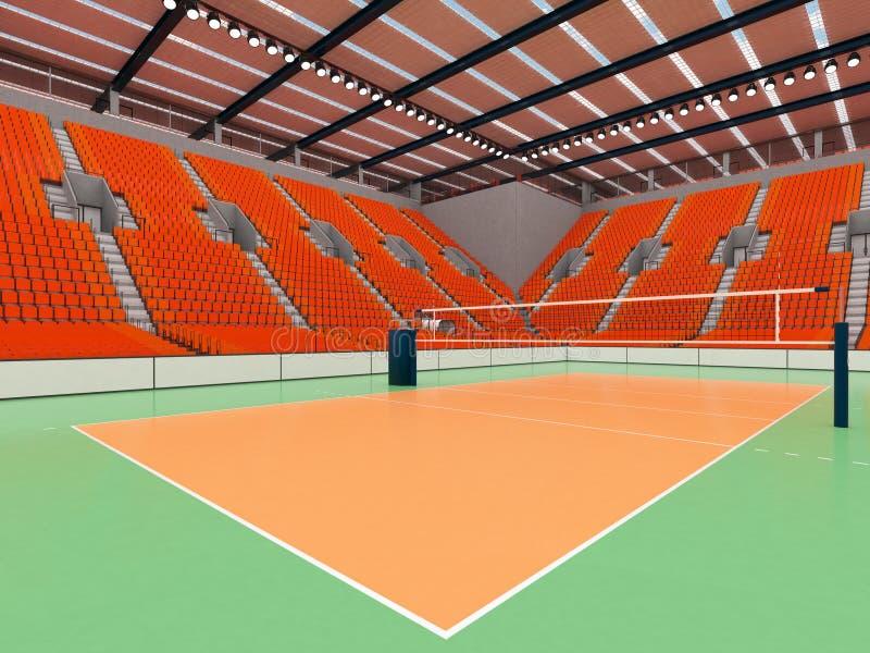 Schöne Sportarena für Volleyball mit orange Sitzen und Flutlichtern - 3d übertragen stock abbildung