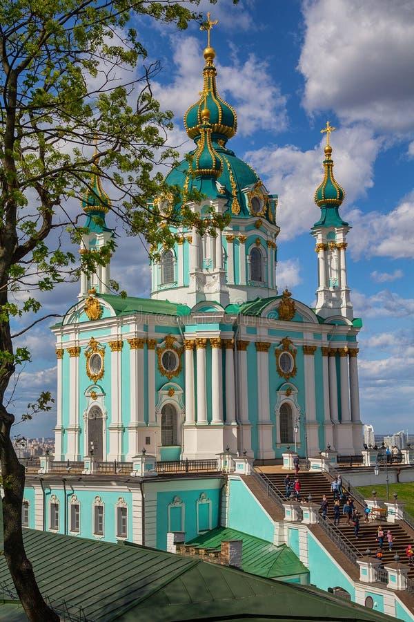 Schöne St- Andrew` s Kirche in Kiew lizenzfreies stockbild