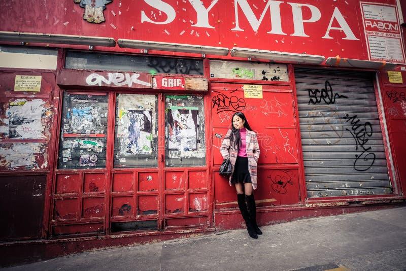 Schöne stilvolle asiatische Frau stockfoto