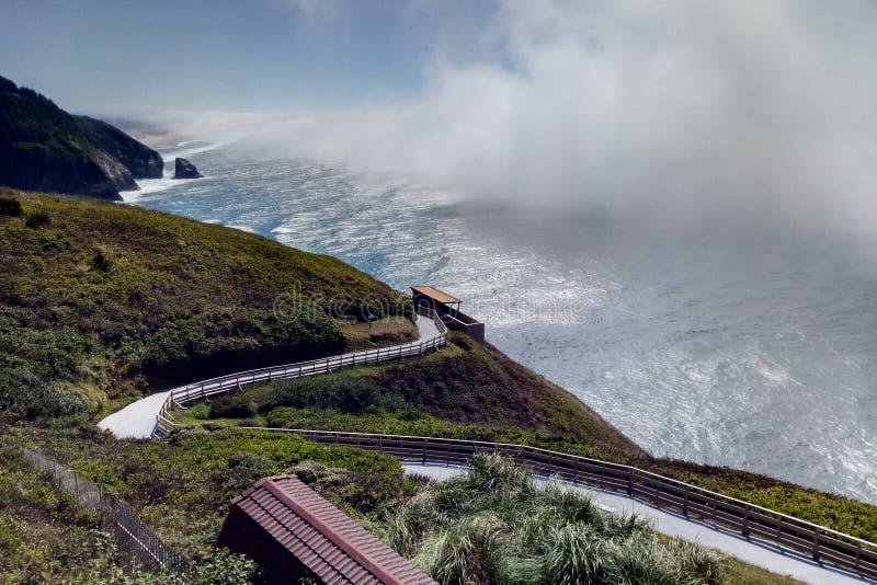 Schöne Straße entlang dem Pazifischen Ozean an einem sonnigen Tag lizenzfreie stockfotos
