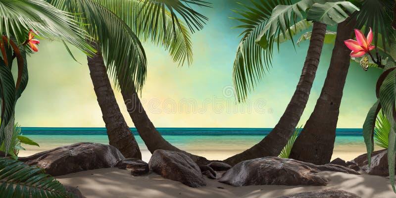 Schöne Strandlagunenansicht mit Palmen und tropischen Blättern lizenzfreie stockfotos