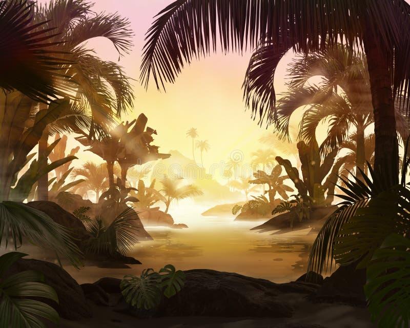 Schöne Strandlagunenansicht mit Palmen und tropischen Blättern lizenzfreie stockbilder