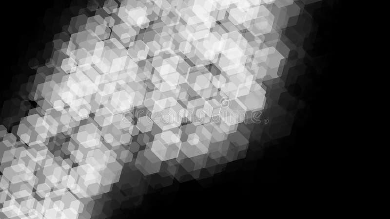 Sch?ne Tapetenfahne mit, abstrakter Entwurf, geometrisches Muster, wei?e transparente Hexagone, schwarzer Hintergrund vektor abbildung