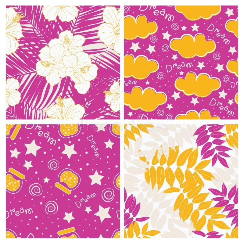 Schöne tropische Blätter und Himmel voll Sternkinderdes nahtlosen Muster-Entwurfssatzes vektor abbildung