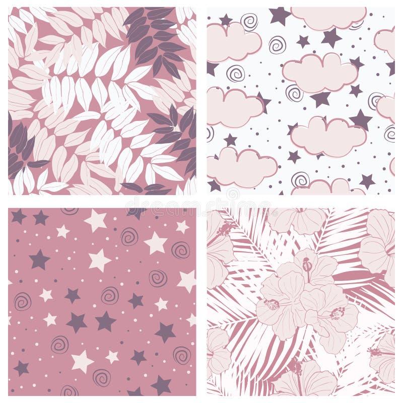 Schöne tropische Blätter und Himmel voll Sternkinderdes nahtlosen Muster-Entwurfssatzes lizenzfreie abbildung