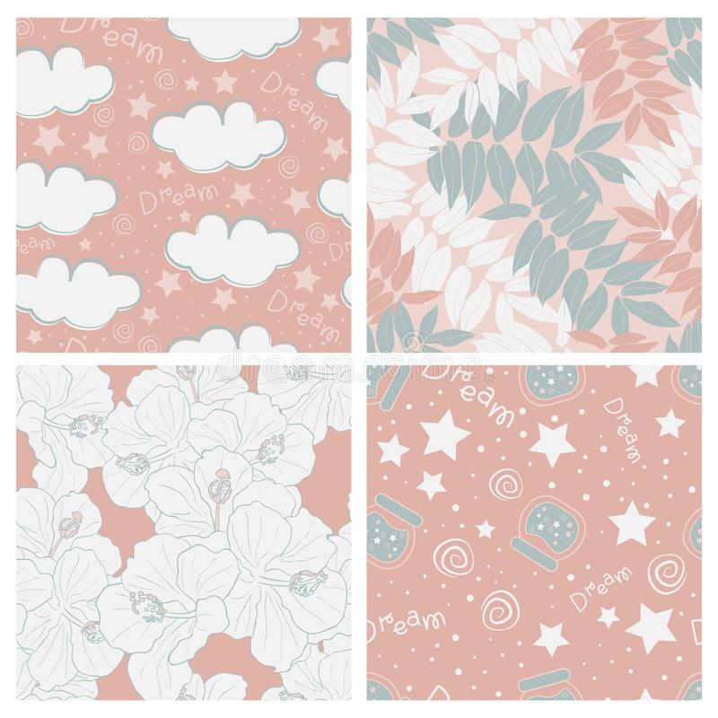 Schöne tropische Blätter und Himmel voll Sternkinderdes nahtlosen Muster-Entwurfssatzes stock abbildung