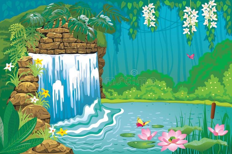 Schöne tropische Landschaft mit einem Wasserfall lizenzfreie abbildung