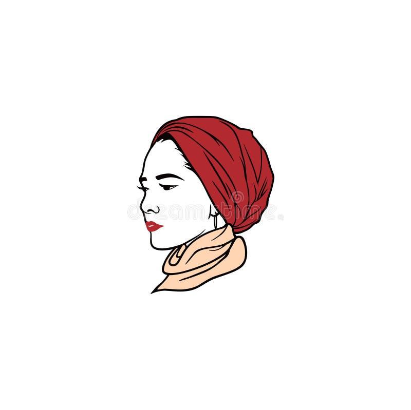 Schöne Turban-Mädchen-Frisur, moslemischer Mädchen Hijab-Vektor-Entwurf Logo, Ikone, Zeichen, Illustration vektor abbildung