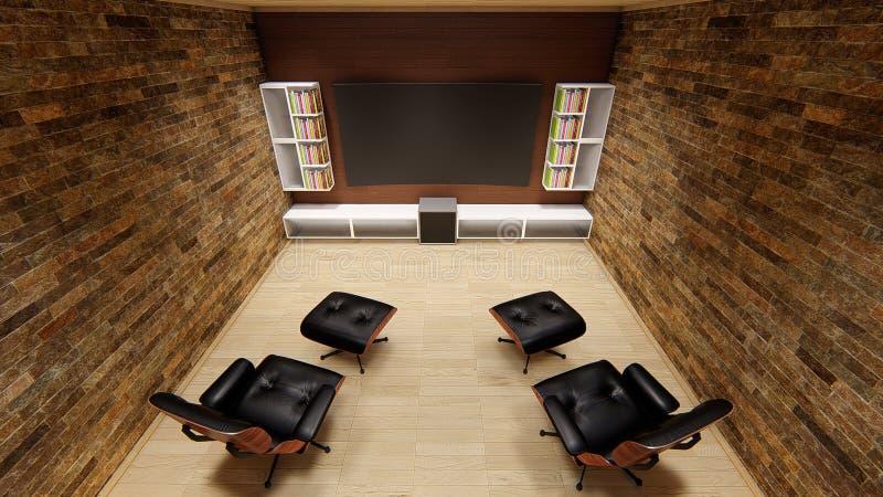 Schöne uhd 4k Sofa des Haupttheater-Fernsehprojektordesigns vervollkommnen das weiche Unterhaltungsausgangsdesign stock abbildung
