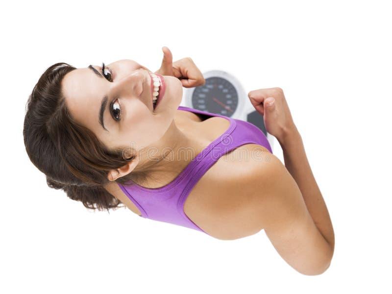 Schöne und glückliche athletische Frau stockfoto